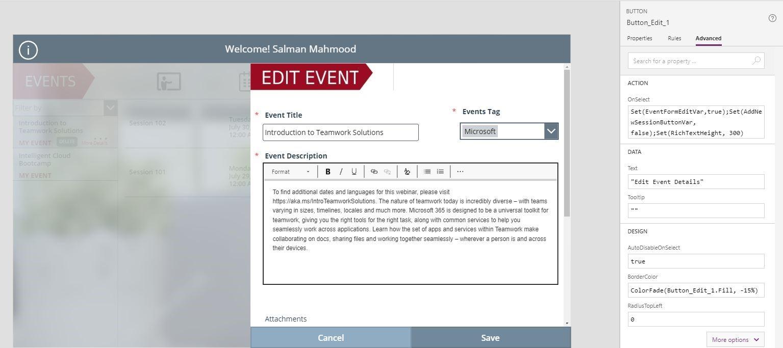 create edit event